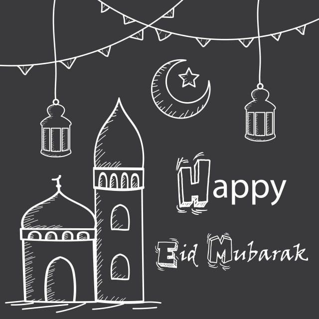 Happy Eid Mubarak Greeting Hand Drawing Style With Mosque Lanterns And Crescent Moon Happy Png And Vector With Transparent Background For Free Download Eid Mubarak Greetings Eid Mubarak Wishes Images Happy