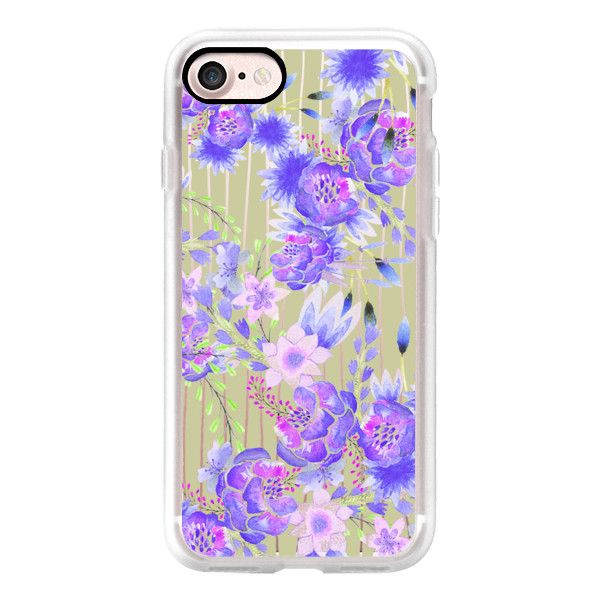 Elegant vintage gray stripes pink purple green watercolor floral -... ($40) ❤ liked on Polyvore featuring accessories, tech accessories, iphone case, apple iphone case, iphone cases, vintage floral iphone case, green iphone case and vintage iphone case