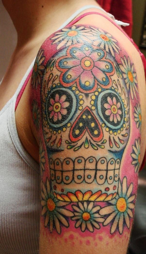 skull tattoos flower colors. I want this so bad!!!
