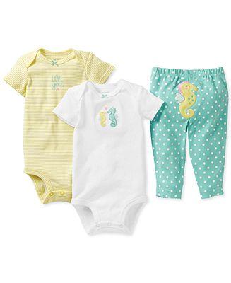 Carter's Baby Girls' 3-Piece Seahorse Bodysuits & Pants Set - Kids Baby Girl (0-24 months) - Macy's