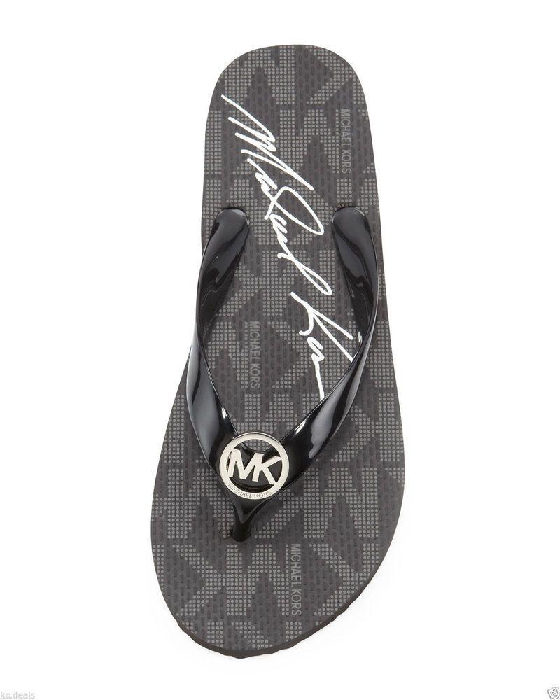 Black sandals michael kors - New Women S Michael Kors Flip Flop Sandals Rubber Mk Logo Black Size 10 Bin 14