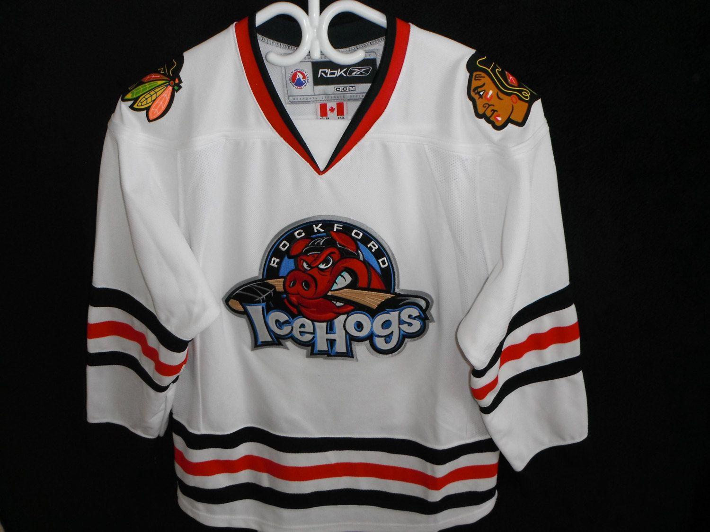 783cdeaae2b ROCKFORD ICEHOGS Usa Ahl Jersey Sweater Top Maillot Trikot Fightstrap  Vintage Retro Nhl Pig Team Blackhawks Boy's Youth L/Xl
