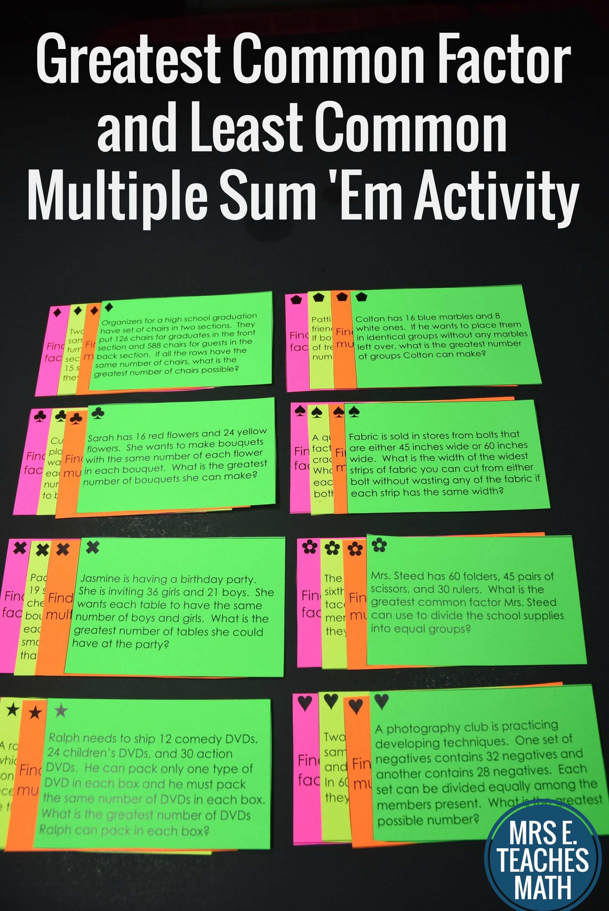 Gcf And Lcm Sum Em Activity Word Problems