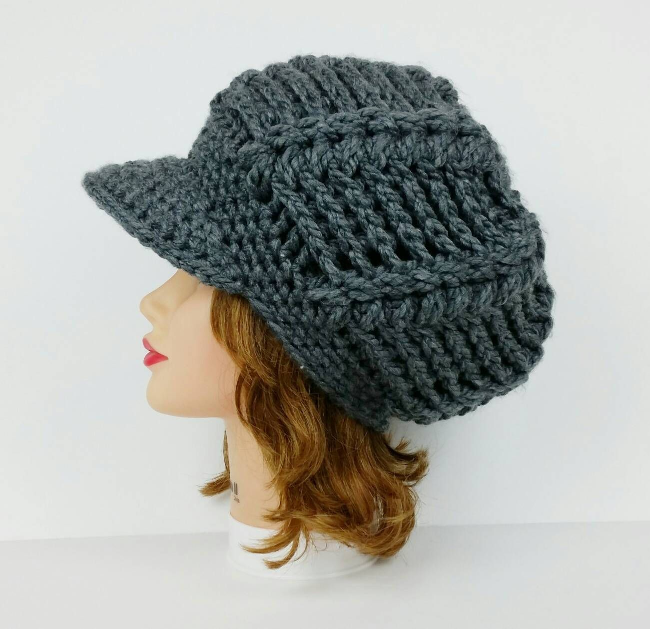 Crochet Newsboy Cap Visor Hat Chunky Beanie With Brim Etsy Crochet Hat For Women Crochet Hats Crochet