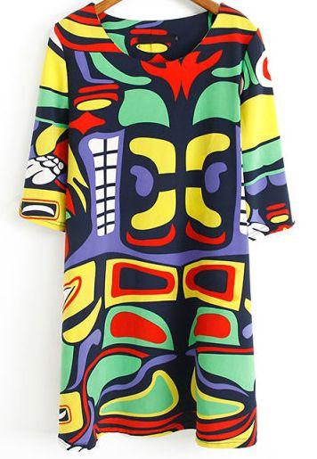 Multicolor Half Sleeve Birds Print Loose Dress US$22.33