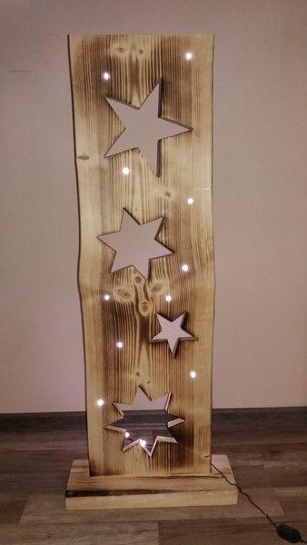 Holzbrett mit sterne led beleuchtung holzbretter led for Deko objekte wohnzimmer