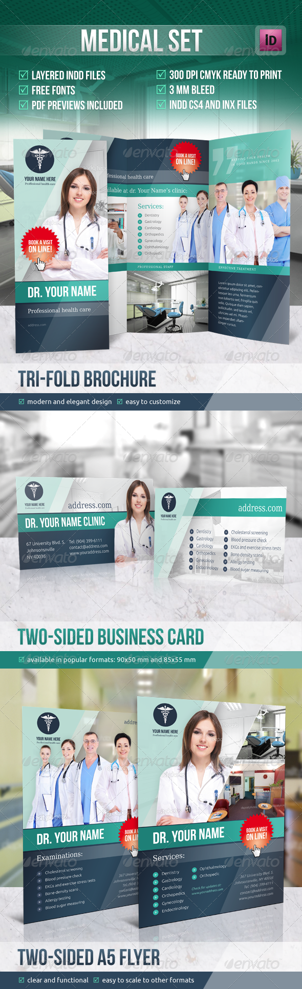Medical Set Graphicriver The Package Contains A Basic Tri Fold Brochure Flyer A5 Custom And Business Card For Company Text Graphics Are Put In