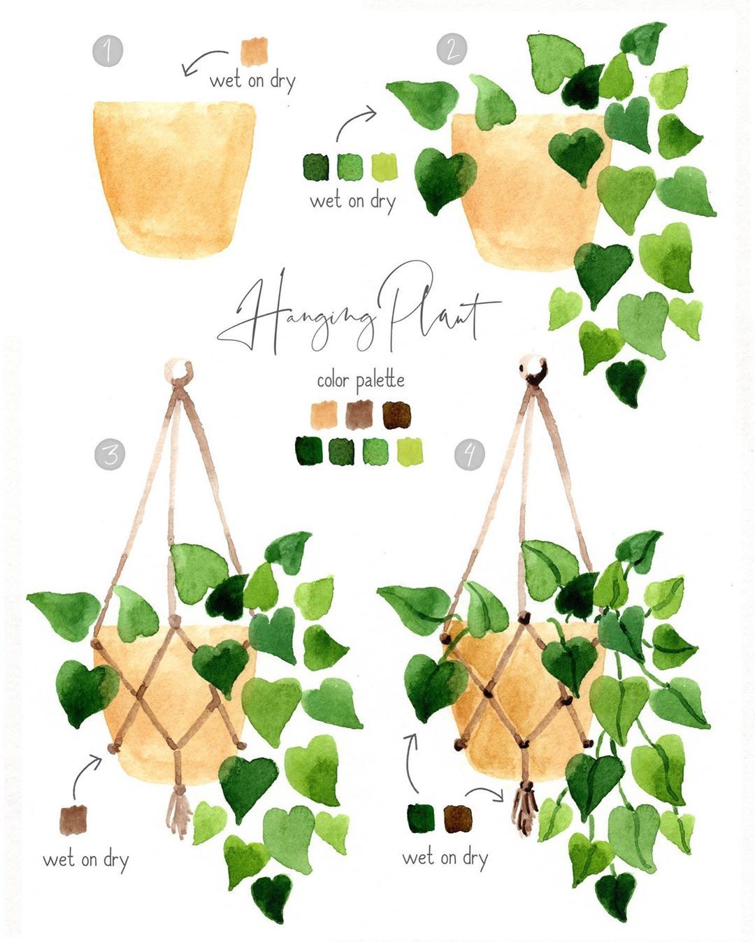 """Sara B. no Instagram: """"Happy Tutorial Tuesday! Here's a little hanging plant watercolor modeled after the plant in my living room. This one is painted entirely…"""""""