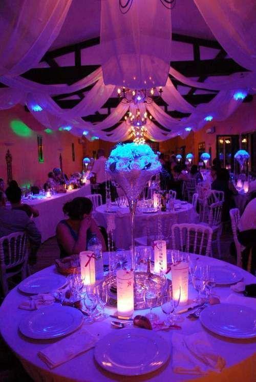 D coration mariage centre de table mariage lumineux - Centre de table mariage ...