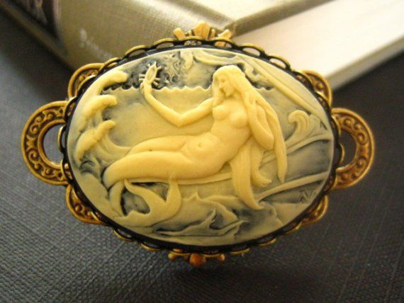 Vintage art nouveau frame mermaid cameo pendant cameo pendant vintage art nouveau frame mermaid cameo pendant by on etsy mozeypictures Choice Image