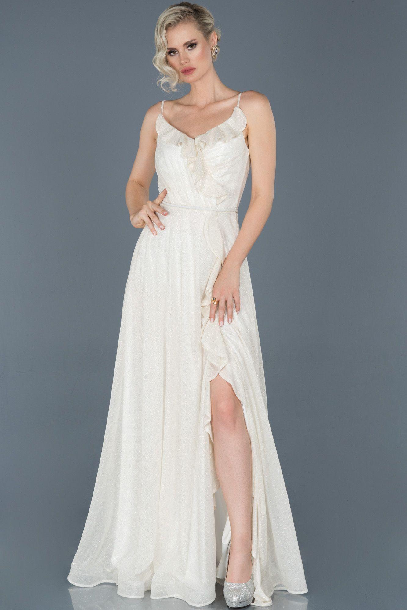 Ekru Uzun Bacak Dekolteli Simli Nisan Elbisesi Abu888 2020 The Dress Gelin Elbisesi Elbise Modelleri