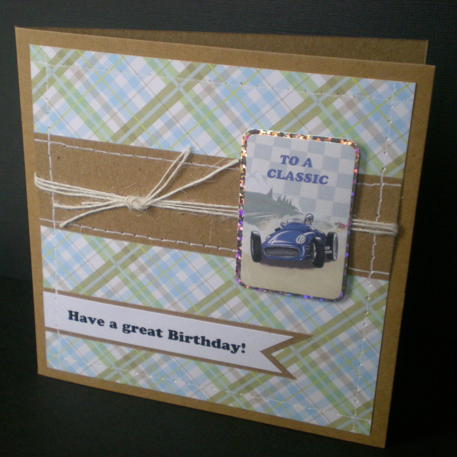Male birthday card racing car vintage style shabby chic kraft male birthday card racing car vintage style shabby chic kraft handmade bookmarktalkfo Gallery