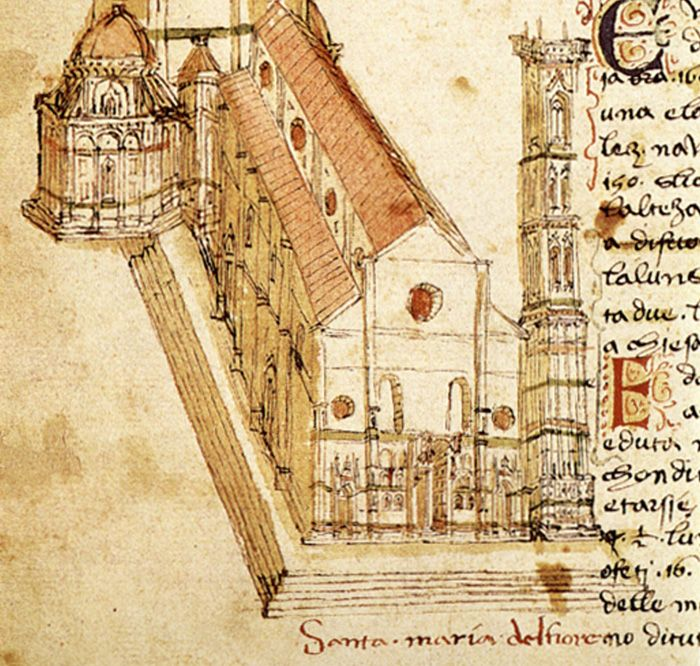 Santa Maria Del Fiore As It Appears In The Fifteenth Century Codex Rustici Florence 1447 The Original Façade Was Only Medieval Art Art And Architecture Duomo