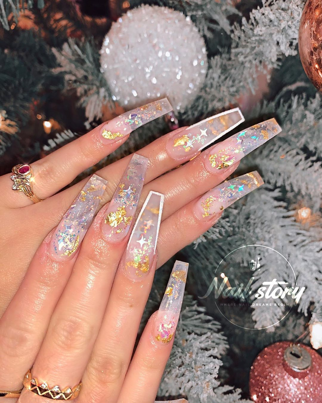 Nail Story Of Chino Hills On Instagram Shine On Clear Milky Nails Encaps Gold Acrylic Nails Coffin Nails Designs Clear Nail Designs