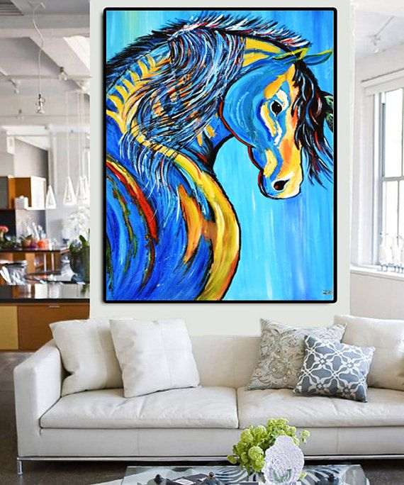 original colorful horse abstract painting 30 x40 large acrylic on