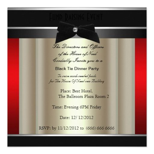 Formal Black Tie Dinner Party Invitation This invitation tells you - invitation non formal