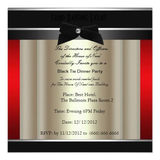 Formal Black Tie Dinner Party Invitation Zazzle