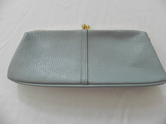 543dcad31b0a Letisse Light Blue Leather Clutch Made In by baublesandblingforu