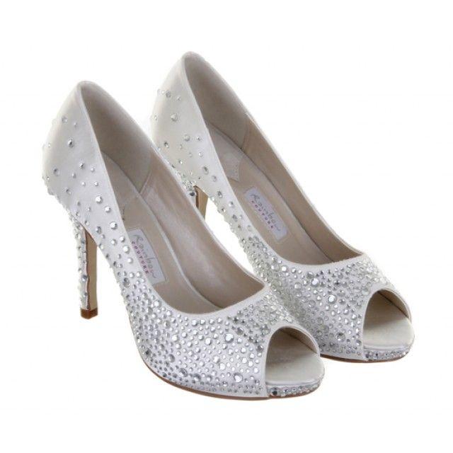 Orvietto Diamante Peep Toe Shoes Satin Shoes Satin Wedding