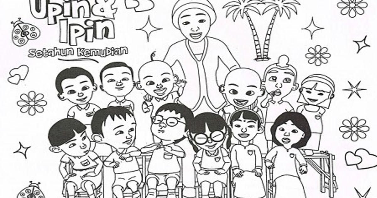 Contoh Gambar Karikatur Upin Ipin Buku Mewarnai