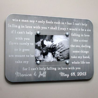 Engraved Metal Picture Frame Anniversary Gift Personalized With First Dance Song Lyrics Wedding Vows 10 Year Anniversary Gift Mens Anniversary Gifts Engraved Picture Frames