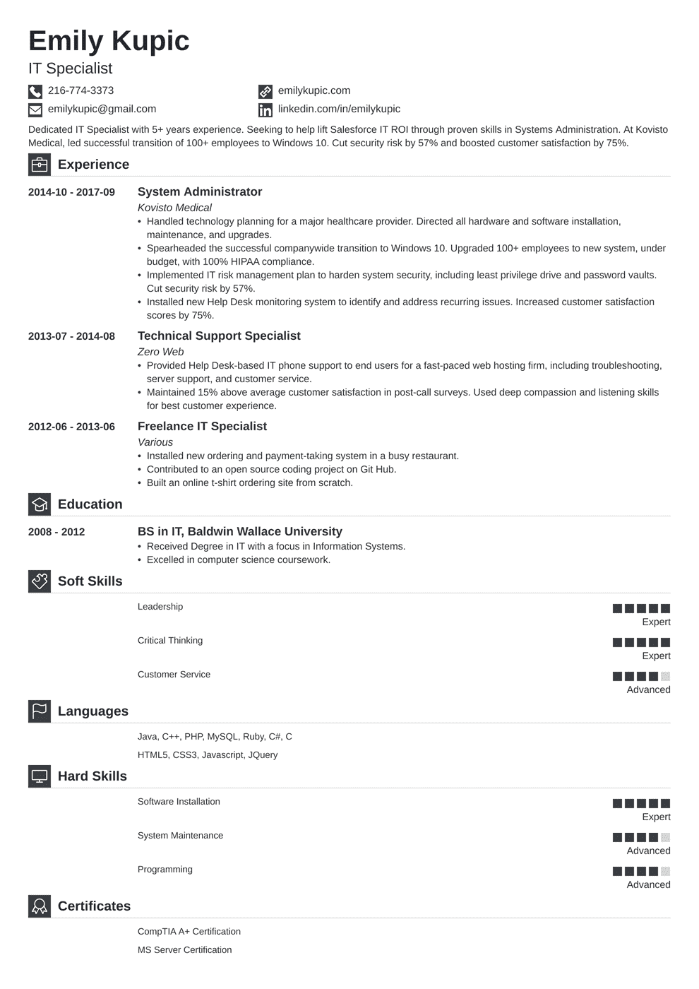 technical resume template iconic in 2020 Job resume
