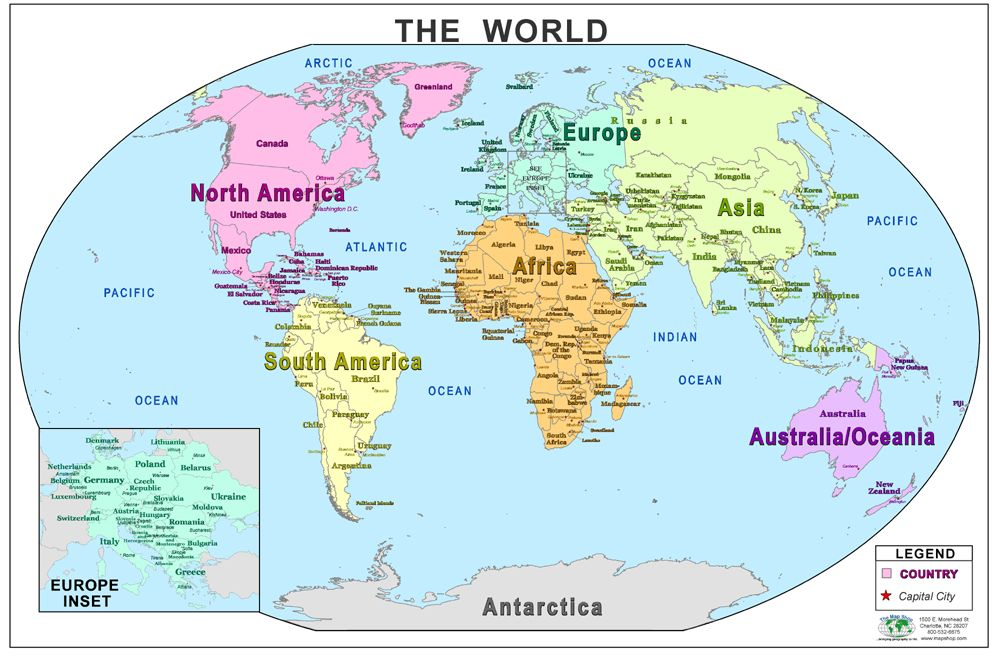 World Map With Country Details EFL Materials Pinterest - Show the map of the world