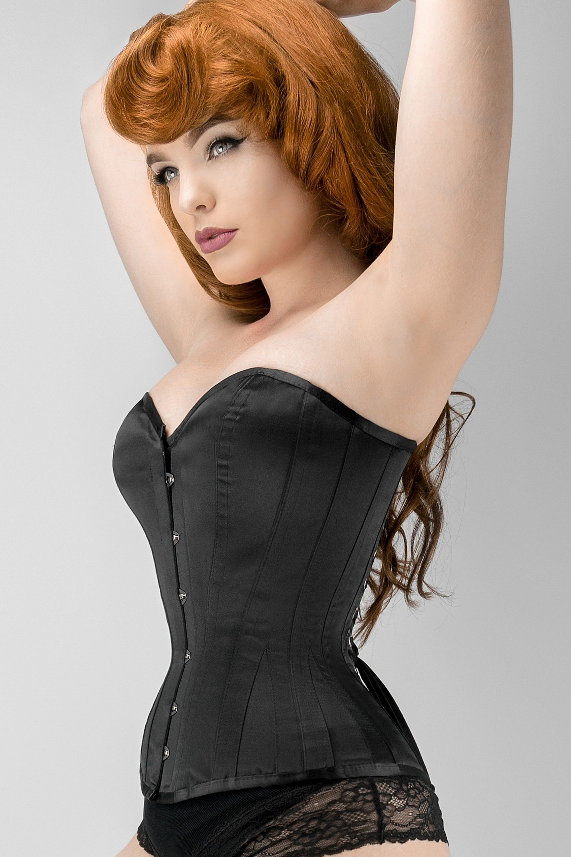 5ba31e3578701 Waist Taming Classic Black Overbust Corset With Hip Gores - 20 ...