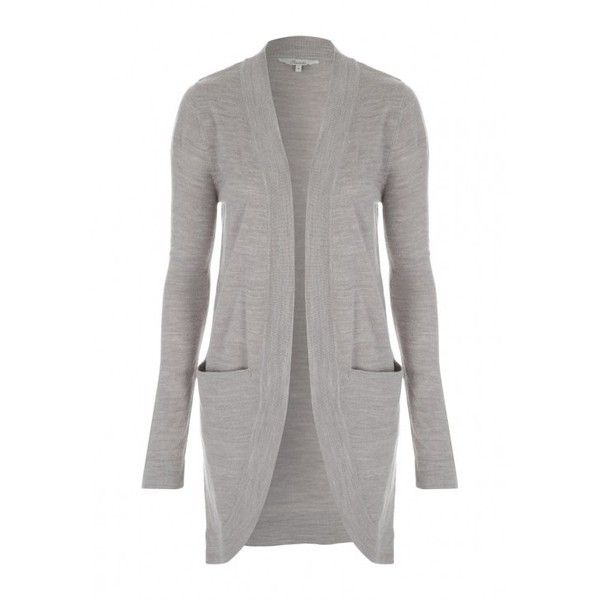 Womens Grey Longline Pocket Cardigan ($20) ❤ liked on Polyvore ...