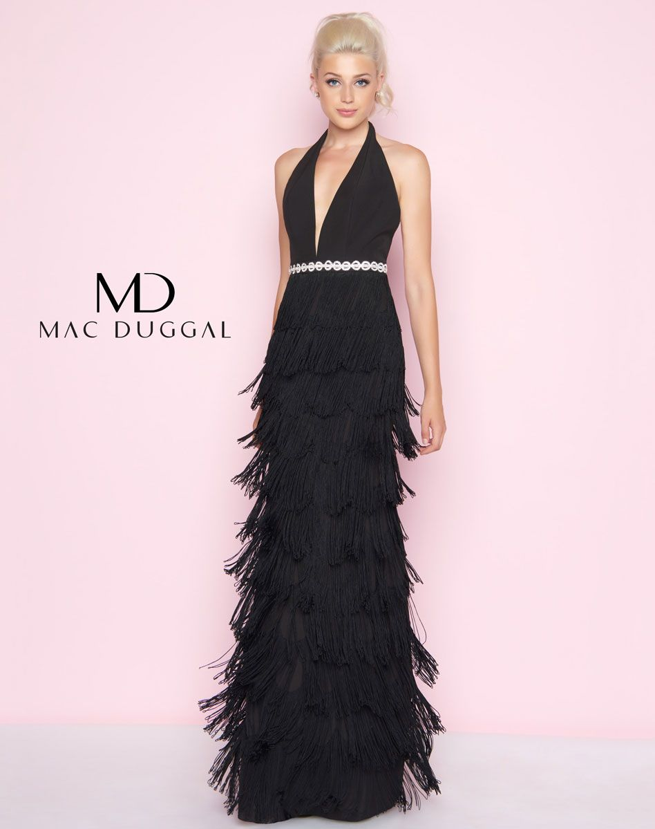 77417l Mac Duggal Black Prom Gown With Fringe Skirt Plus Size Wedding Guest Dresses Long Mermaid Dress Wedding Guest Dress [ 1199 x 948 Pixel ]