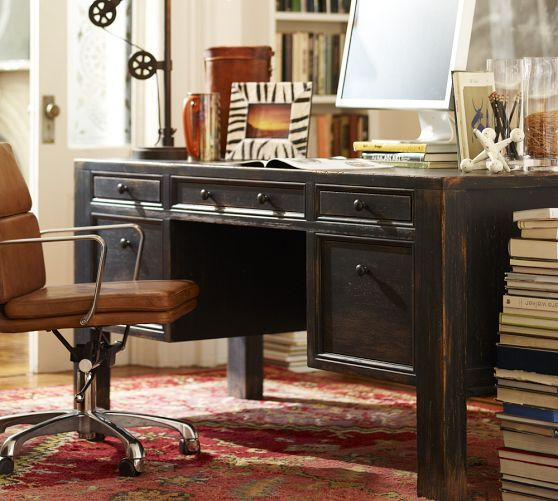 Large Desk, Black Office Furniture, Home