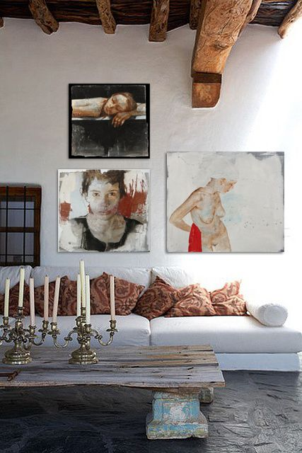 White Sofa Layered Art Organic Elements Earth Tones Interior Design Dream Home Beautiful Spaces