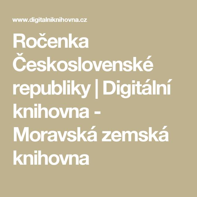Ročenka Československé republiky | Digitální knihovna - Moravská zemská knihovna