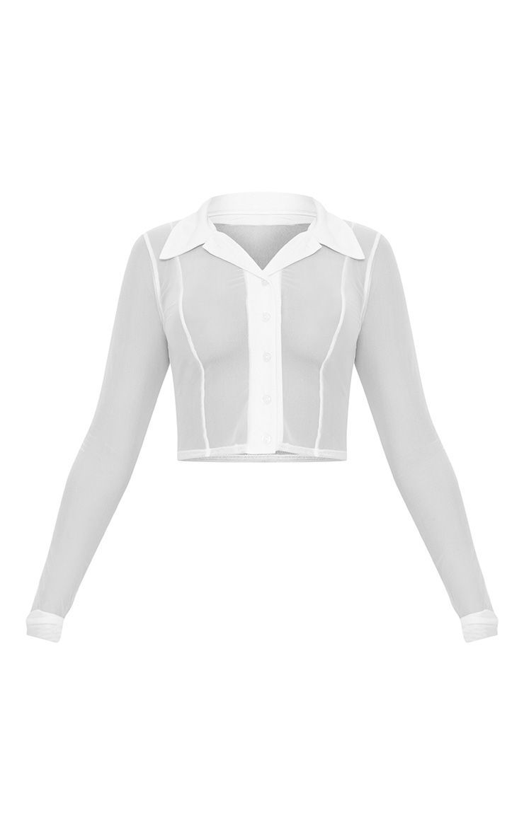 6f4aeebd2a White Sheer Mesh Long Sleeve Crop Shirt in 2018