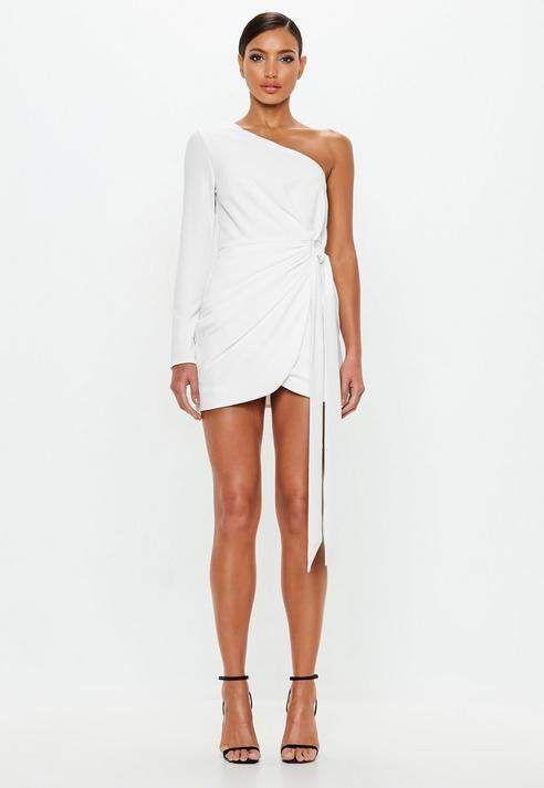 + Love Ivory Wrap One Shoulder Mini Dress Missguided Ivory Wrap One Shoulder Mini Dress