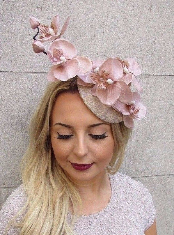 af1de876 Nude Beige Cream Orchid Flower Fascinator Hat Wedding Hair Clip ...