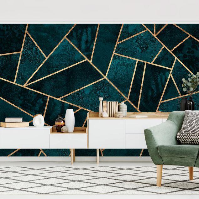 Tapete selbstklebend - Dunkles Türkis mit Gold - Fototapete Querformat