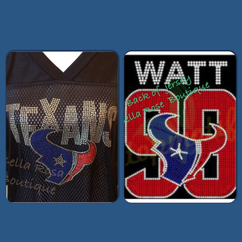 Houston TEXANS WATT 99 Jersey rhinestone Navy Football