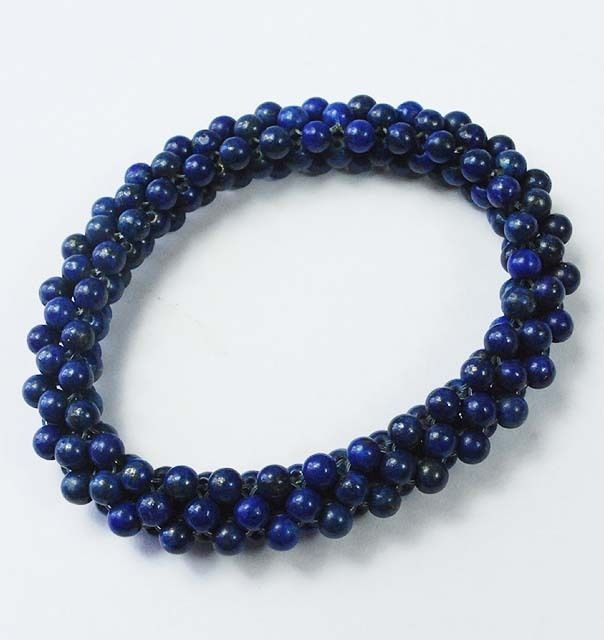 Blue Gemstone Lapis 4 mm Beaded Jewelry Stretchable Trendy Bracelet US - 1412 #SilvestoIndia #Beaded