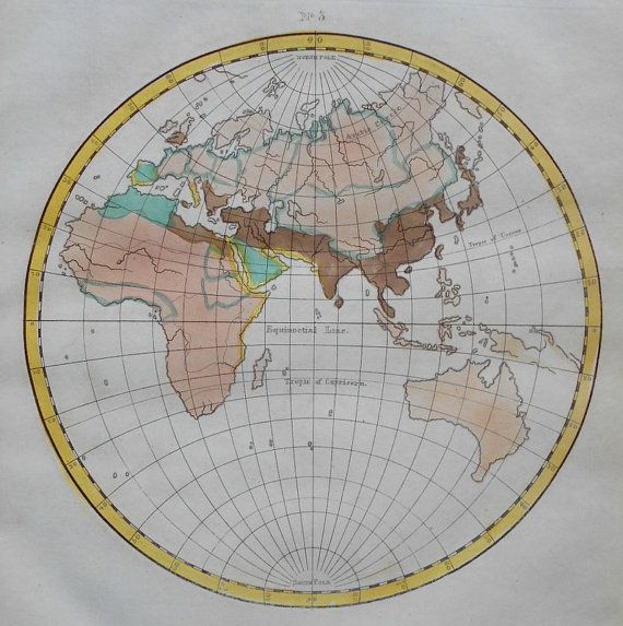 Marvelous 1819 Eastern Hemisphere Ethnographic Map World. Europe Africa Asia  Australia. Antique Handcolored Engraving.