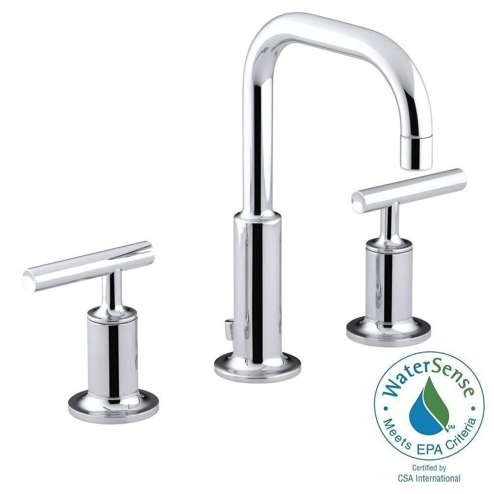 Kohler Purist 8 In Widespread 2 Handle Low Arc Water Saving Bathroom Faucet Polished Chrome With Gooseneck Spout