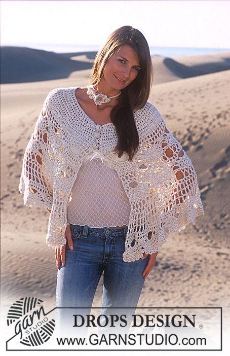 DROPS Nostalgic poncho crochet in Alpaca and Cotton Viscose and ...