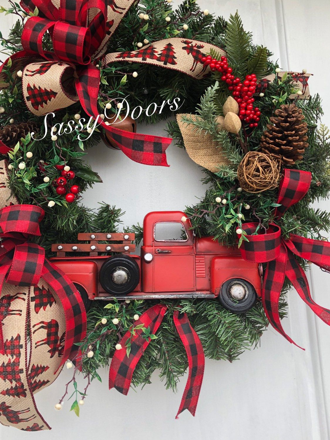 Photo of Red Truck Wreath, Buffalo Plaid, Rustic Christmas Wreath, Red Truck Christmas wreath, Farmhouse Christmas Wreath, Sassy Doors Wreath