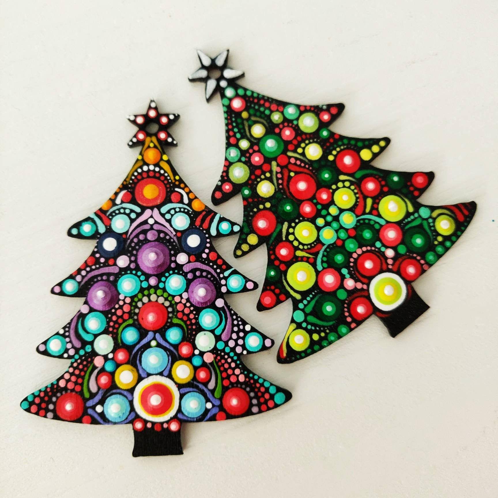 Custom Christmas Tree Ornaments On Wood In Shape Of A Tree Mandala On Christmas Ornaments Dotart Dotilism Pointilism Christm Christmas Paintings Christmas Tree Painting Christmas Mandala