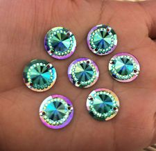 DIY NEW 40Pcs 14mm Sky Blue AB Mini Faceted Flat Back Resin Round Buttons Craft~