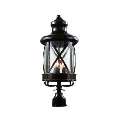 08652614eb8 Bel Air Lighting Carriage House 3-Light Outdoor Oiled Rubbed Bronze Post  Top Lantern with Seeded Glass-5123 ROB - The Home Depot