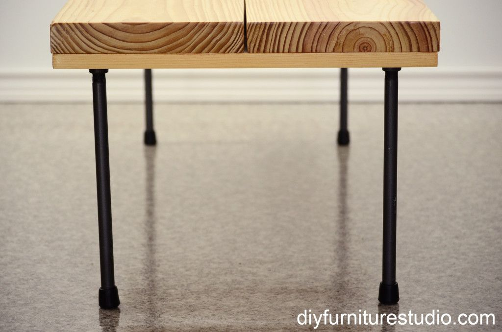 DIY rustic modern coffee table or bench with plumbing pipe
