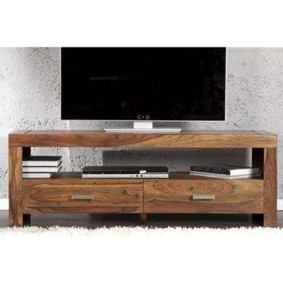 Meuble TV design Pablo 135 cm - Structure en bois naturels d\'acacia ...
