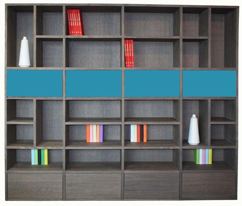 51450 composition murale biblioth que alv oles 4 portes relevantes 4 tiroirs ch ne flott - Pirotais meubles ...