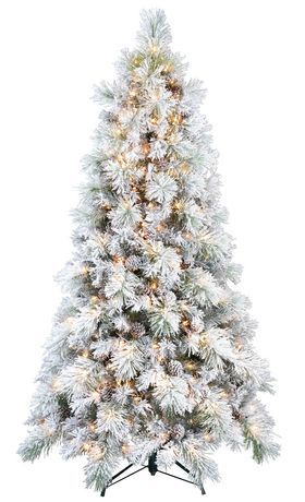 7 Ft White Flocked Tree For Sale At Walmart Canada Get Christmas